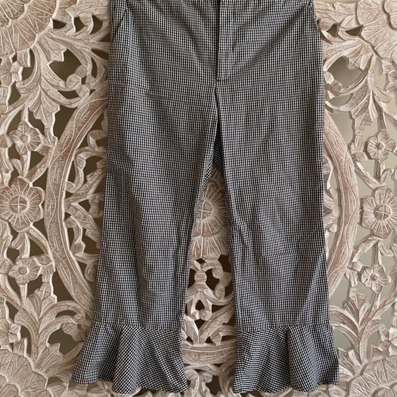Zara Pants - Zara Plaid Trousers with Ruffle Edge